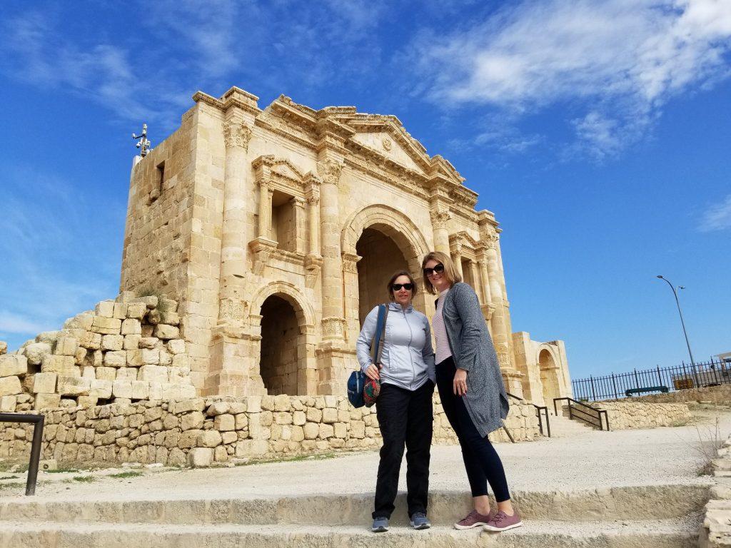 Karen and Sarah in Jerash, Jordan